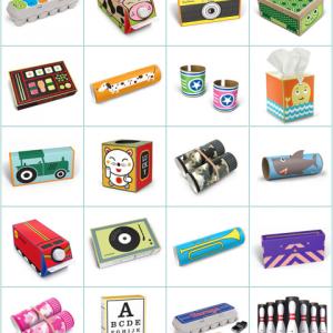 Cajas de cartón recicladas en juguetes