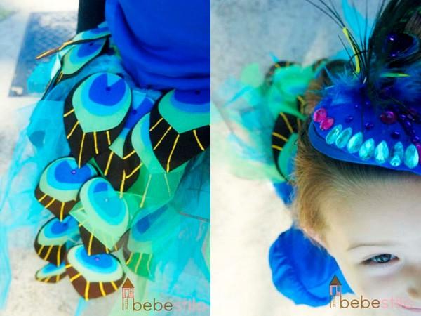 disfraces caseros niños pavo real bebestilo