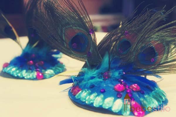 tocado disfraz pavo real