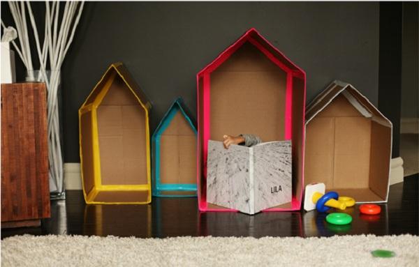 casa para niños de una caja de cartón