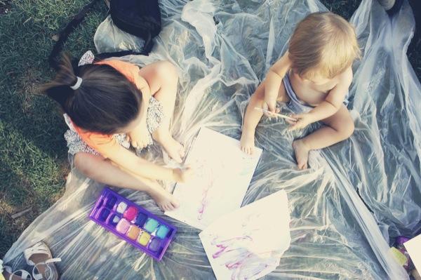 pintura casera de niños de yogur