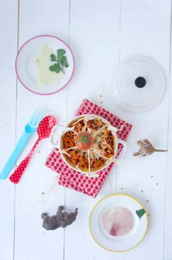 recetas para niños: circo de macarrones con carne y tomate 1
