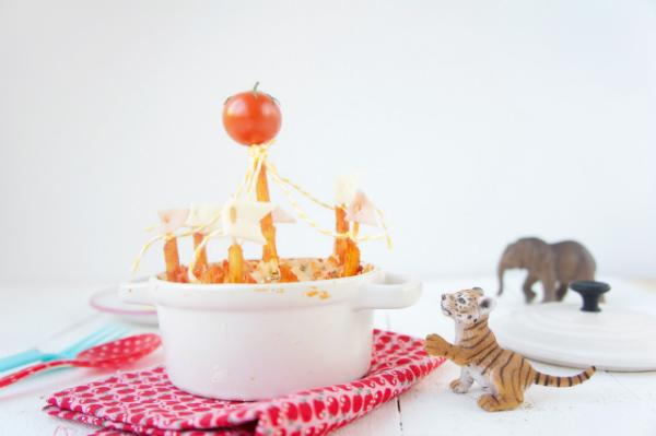 recetas para niños: circo de macarrones con carne y tomate 3