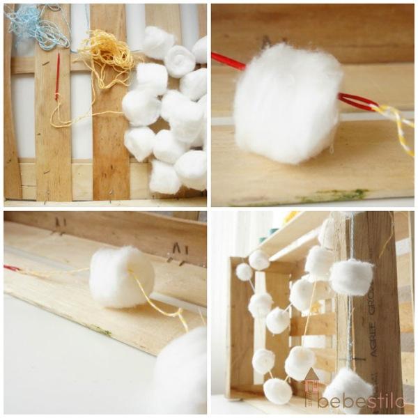 guirnalda de algodón 1Bebestilo manualidades infantiles
