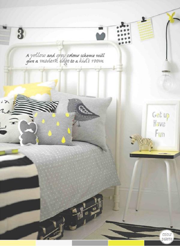 Habitación en tonos grises y amarillos