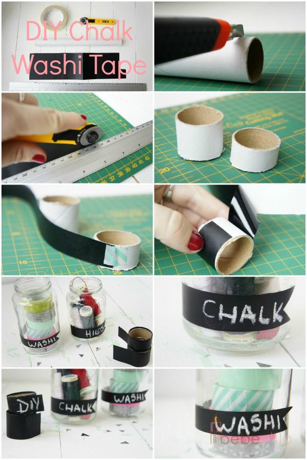 DIY homemade washi tape chalk / washi tape de pizarra casero